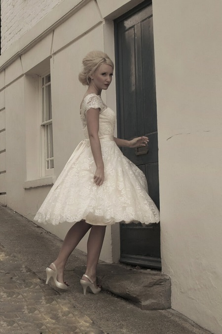 House Of Mooshki Sarah Short Tea Length Full Lace Gown