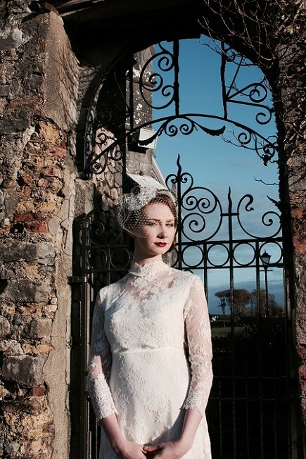 1940s high neck lace vintage wedding dress